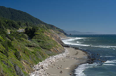 OR: South Coast Region, Curry County, North Coast, Humbug Mountain Area, Humbug Mountain State Park, Cliff-lined beaches along the Pacific Hwy, US 101 [Ask for #274.430.]