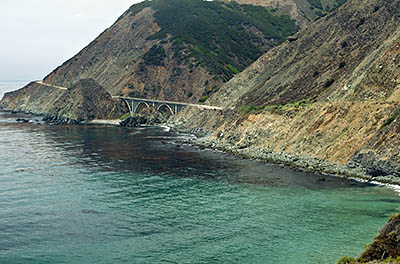 CA: South Coast Region, Monterey County, Los Padres National Forest, Big Sur, Big Creek Area, View of Big Creek Bridge from the Pacific Coast Highway [Ask for #271.052.]