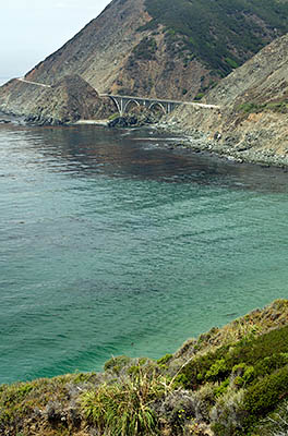 CA: South Coast Region, Monterey County, Los Padres National Forest, Big Sur, Big Creek Area, View of Big Creek Bridge from the Pacific Coast Highway [Ask for #271.053.]