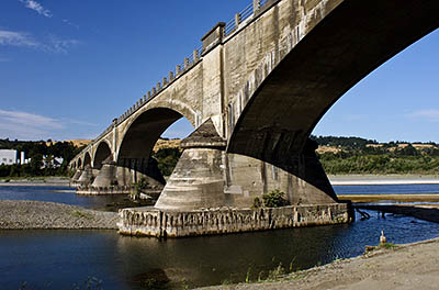 CA: North Coast Region, Humboldt County, Humboldt Bay Area, Ferndale Area, Eel River Bridge at Fernbridge, Built in 1911, this 1,320 foot arched structure is said to be the longest poured concrete bridge in the world. [Ask for #271.080.]