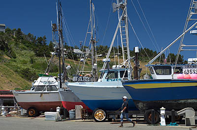 OR: Curry County, North Coast, Port Orford Area, Port Orford Marina, Small commercial fishing boats trailered at the town's harbor [Ask for #274.403.]