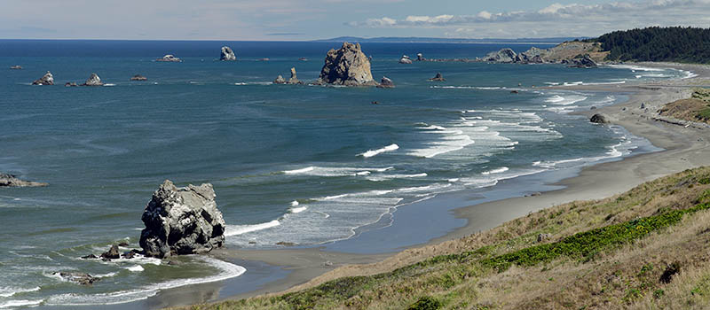 OR: South Coast Region, Curry County, North Coast, Cape Blanco Area, Cape Blanco State Park, View of Cape Blanco with its quiet, protected beach, large hoodoos, and grass-topped cliffs [Ask for #274.686.]