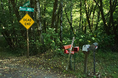 OR: South Coast Region, Coos County, Coast Range, Elliott State Forest, The Ridgetop Drive, FR 2000, The end of SFR 2000 at the southern boundary of the state forest, at County Road 47; sign post. Rural mail boxes. [Ask for #274.A85.]