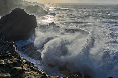 OR: Coos County, Coos Bay Area, Cape Arago Parks, Shore Acres Cliffs, High surf pounds against sea cliffs [Ask for #276.215.]