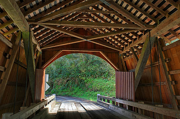 OR: Lincoln County, Pacific Coast, Yachats Area, Yachats River Covered Bridge. Interior of covered bridge, showing its truss structure [Ask for #276.535.]