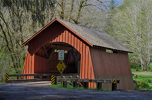 OR: Lane County, Pacific Coast, Yachats, Yachats River Covered Bridge, View of red covered bridge [Ask for #276.537.]
