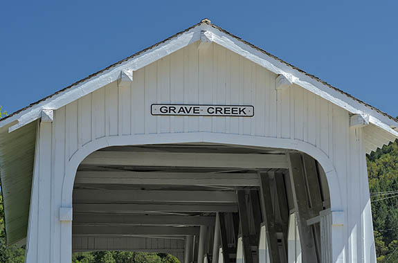 OR: Josephine County, Grants Pass Area, Grave Creek, Grave Creek Covered Bridge [Ask for #278.355.]