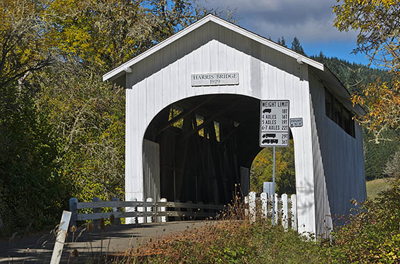 OR: North Coast Region, Benton County, Coast Range, Marys River Area, Harris Covered Bridge, Built in 1929, this original bridge still carries traffic. [Ask for #278.621.]