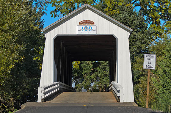 OR: Marion County, Pudding River Area, Gallon House Covered Bridge, Built in 1916, the Gallon House is the oldest covered bridge in Oregon that still carries traffic. [Ask for #278.627.]