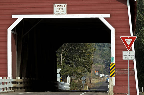 OR: Linn County, Willamette Valley in Linn County, Santiam River Area, Shimanek Covered Bridge. The Shimanek covered bridge dates from 1966, replacing a 1927 span destroyed in a flood. It continues to carry traffic. [Ask for #278.653.]