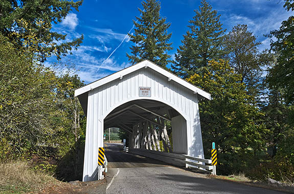 OR: Linn County, Willamette Valley in Linn County, Santiam River Area, Hannah Covered Bridge. This open sided covered bridge, built in 1936, still carries traffic. [Ask for #278.656.]