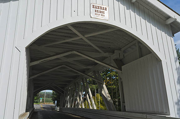 OR: Linn County, Willamette Valley in Linn County, Santiam River Area, Hannah Covered Bridge. This open sided covered bridge, built in 1936, still carries traffic. [Ask for #278.658.]