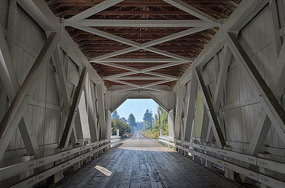 OR: Willamette Valley Region, Linn County, Willamette Valley in Linn County, Santiam River Area, Near Scio, Hoffman Covered Bridge, This open sided covered bridge, built in 1936, still carries traffic. [Ask for #278.665.]